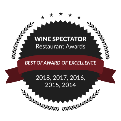 Wine Spectator Restaurant Awards, Best of Award of Excellence: 2018, 2017, 2016, 2015, 2014