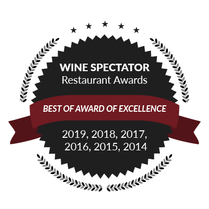 Wine Spectator Restaurant Awards, Best of Award of Excellence: 2019, 2018, 2017, 2016, 2015, 2014