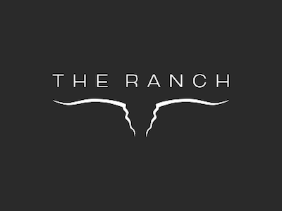 The RANCH logo of a black field with The RANCH and a stylized line drawing of a steer's head in white