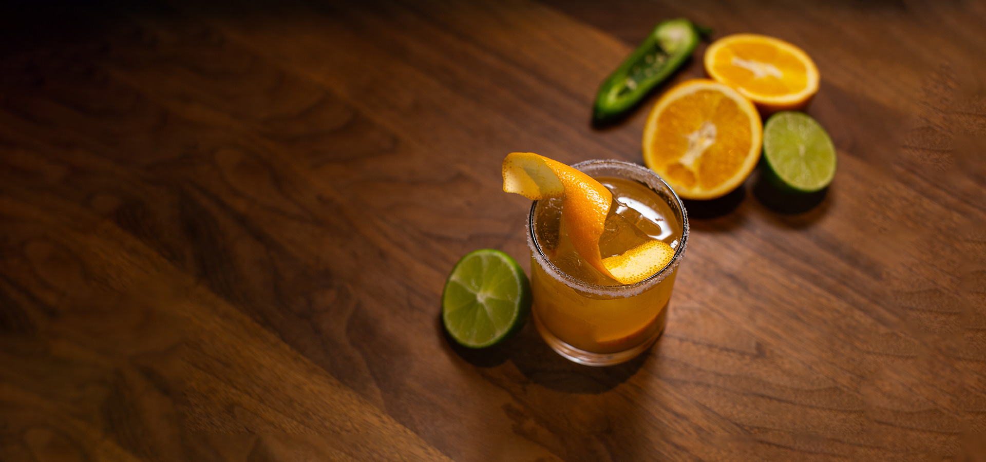 Reposado Tequila and Valencia orange slices muddled with chipotle, agave nectar, house-made sweet & sour and orange peel.