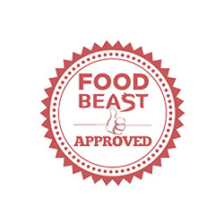 Food Beast logo with link to their November 2016 article about the Foie Gras Banana Split dessert at The RANCH.