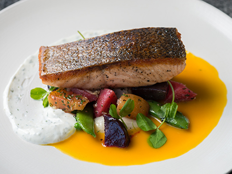 Seared salmon served with creamy white-cheddar, heirloom beets, sugar snap, peas, dill, yogurt and tangerine.