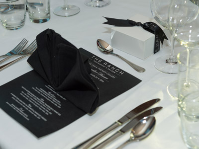 A closeup of the black menu and gift box.