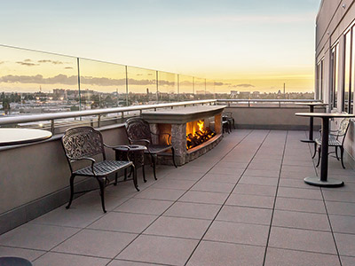 View of The Terrace with fireplace lit.