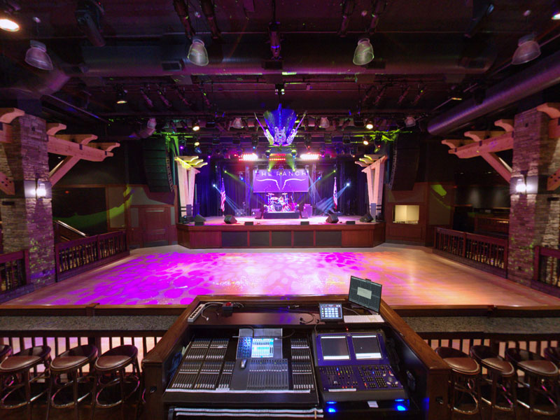 A fisheye view of the inside of The Ranch Saloon, showing a stage, dancefloor, seating, and bars